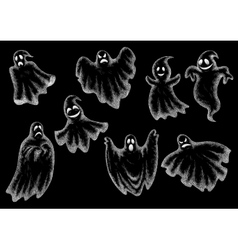 Halloween funny ghosts cartoon chalk icons vector image vector image