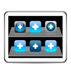 Plus blue app icons vector image vector image