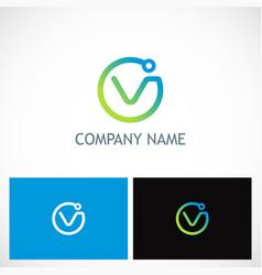 round letter v technology logo vector image