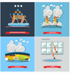 set of winter and water sports concept flat vector image vector image