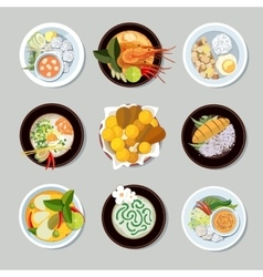 Thai food icons set vector image vector image