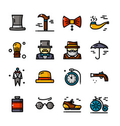 thin line gentleman icons set vector image vector image