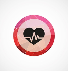 heart pulse circle pink triangle background icon vector image vector image