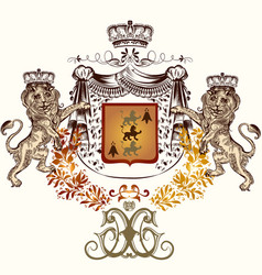 heraldic in vintage style with shield crown vector image