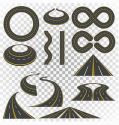 set of asphalt road curves perspectives turns vector image