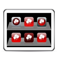Balloons red app icons vector image vector image
