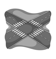 intersection single icon in monochrome style vector image