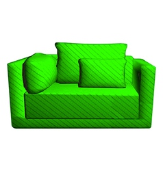 leather green Sofa with pillows isolated on white vector image