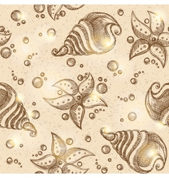 pattern of starfishes and shells eps 10 vector image vector image