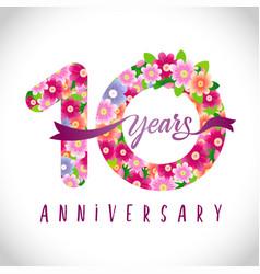 10 flowers anniversary vector image