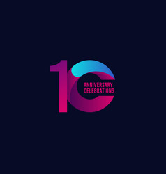 10 years anniversary celebration purple and blue vector