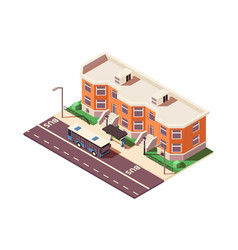3d isometric bus stop in city near building vector image