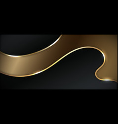Abstract black and gold wavy layers curve shape vector