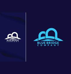 Abstract bridge in letter b logo design template vector