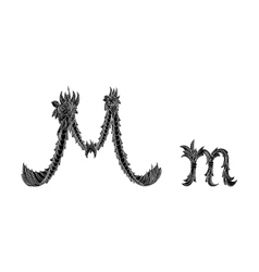 Abstract letter M logo icon black and white design vector image