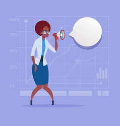 African american business woman hold megaphone vector