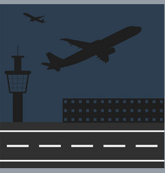 airplanes fly at airport silhouettes of vector image