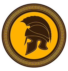 Ancient Greek Helmet with a Crest on the Shield vector