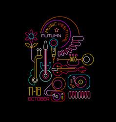 autumn music festival neon vector image