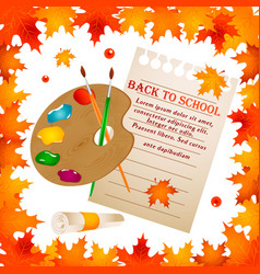 Back to school background with frame leaves vector