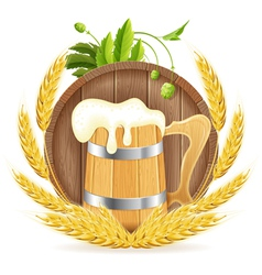 Barrel of Beer and Wooden Mug vector image