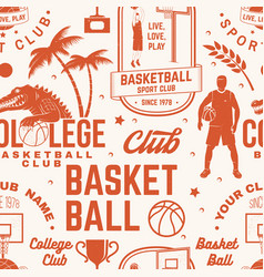 Basketball club seamless pattern or background vector