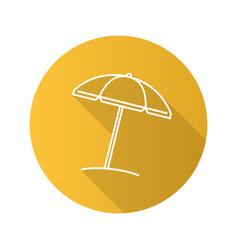 beach umbrella flat linear long shadow icon vector image