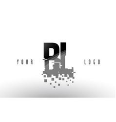 Bl b l pixel letter logo with digital shattered vector