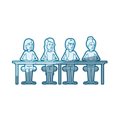 Blue color silhouette shading of teamwork of women vector