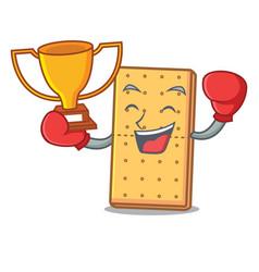 Boxing winner graham cookies mascot cartoon vector