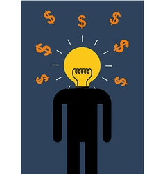 Brain Light Money vector image