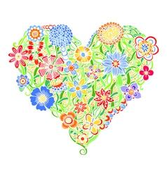 Bright flower heart vector image