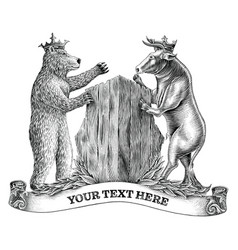 Bull and bear fighting hand draw vintage vector