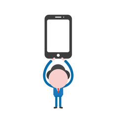 businessman holding up black smartphone vector image