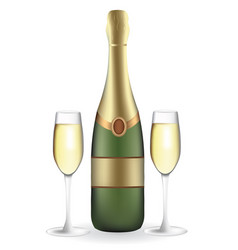 champagne bottle with two full wineglasses vector image