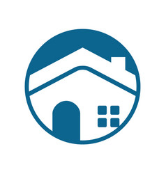 Circle emblem blue house vector