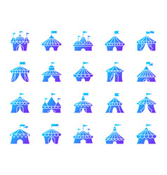 circus tent simple gradient icons set vector image