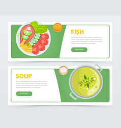 colorful horizontal food banner template vector image