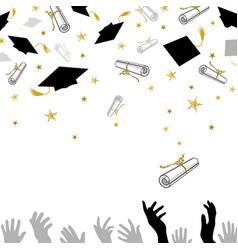 Congratulatory on graduation with caps vector