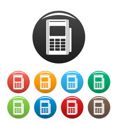 Credit card reader icons set color vector
