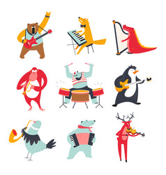 cute animals playing various music instruments vector image