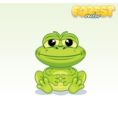 cute cartoon green frog funny animal vector image