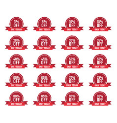 Discount price off tags set sale labels vector