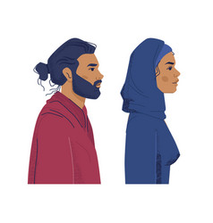 Diverse people muslim man and woman profiles vector