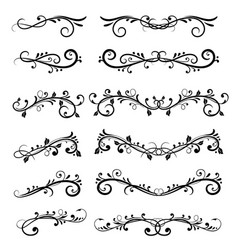 Dividers filigree floral decorations isolated on vector