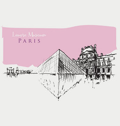 drawing sketch louvre museum vector image