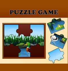 duck and frogs in the river with puzzle concept vector image