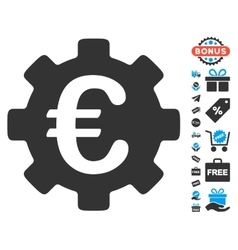 Euro Development Gear Icon With Free Bonus vector image