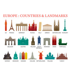 europe countries landmarks colorful silhouette vector image