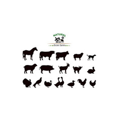 Farm animals silhouettes isolated vector